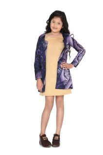 Beige Dress with Wine Silk Jacket