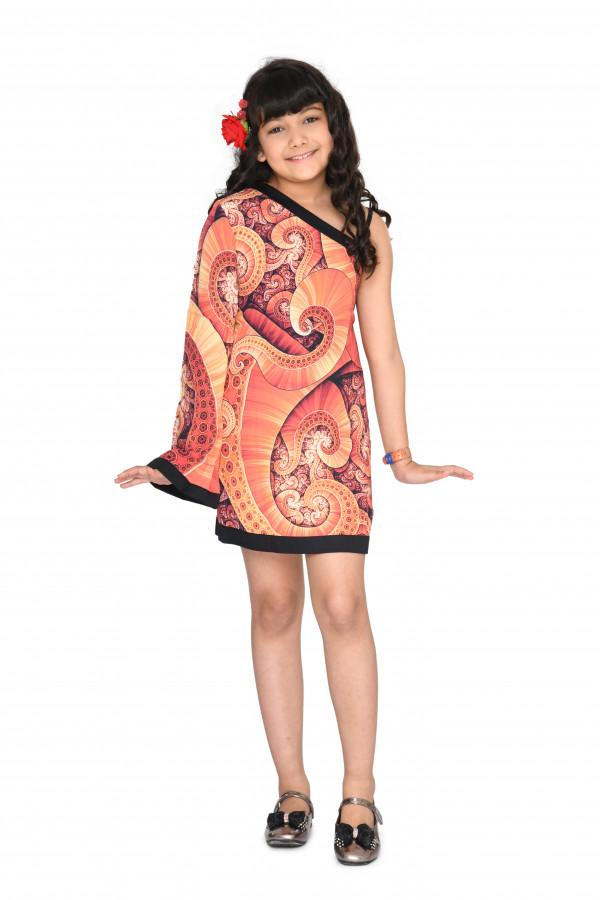One Shoulder Bell-Sleeved Dress