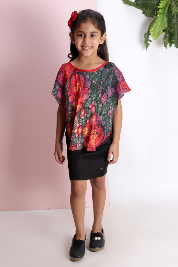 Kaftan Top with Black Skirt