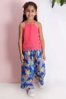 Coral Double Layer Top with Wrap Pants