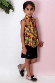 Printed Overlap Shirt with Skirt