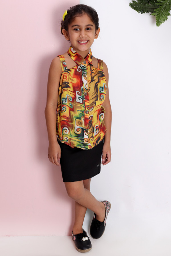 Printed Overlap Shirt with Skirt