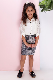 Off-white Shirt with A Printed Skirt