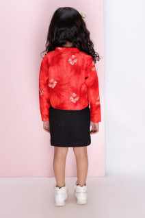 Red Printed Rawsilk Bolero with Skirt
