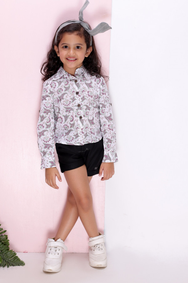 Mauve Block Print Shirt with Black Shorts