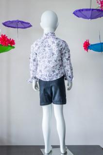 Mauve Block Print Shirt with Black Shorts