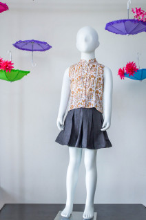 Brown Block Print Top with Brown Pleated Skirt