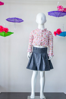Pink Block Print Crop Top with Black Pleated Skirt