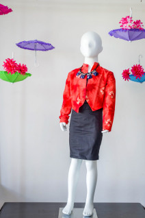 Red Printed Rawsilk Bolero with Skirt
