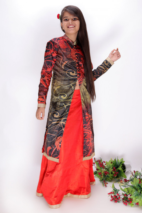 Orange Lehenga with Jacket