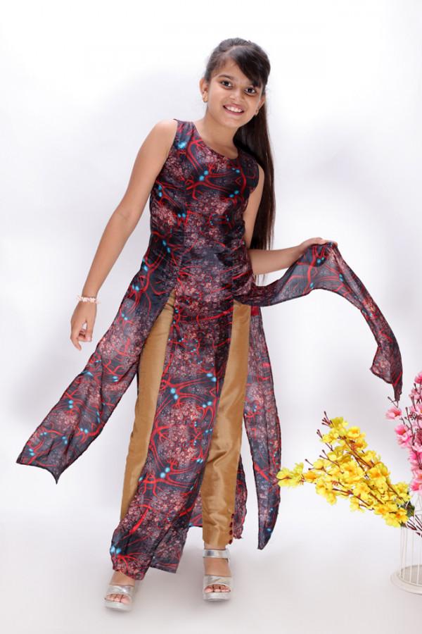 Floor Length Silk Kurta with Gold Narrow Pants