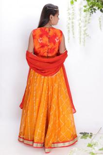 Pearl Work Orange-Red Lehenga