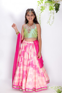 Gota Patti Work Pink & Green Lehenga