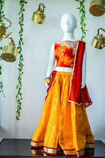 Pearl Work Orange-Red Lehenga
