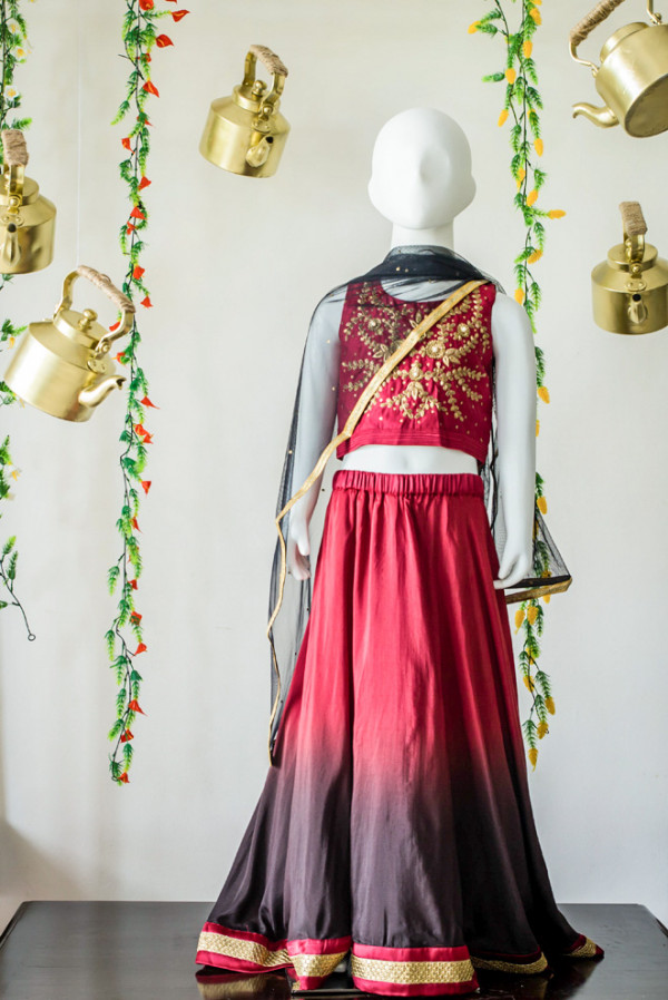 Maroon-Black Shaded Lehenga