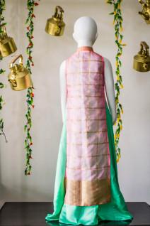 Sea Green Floor Length Dress with Kota Silk Jacket
