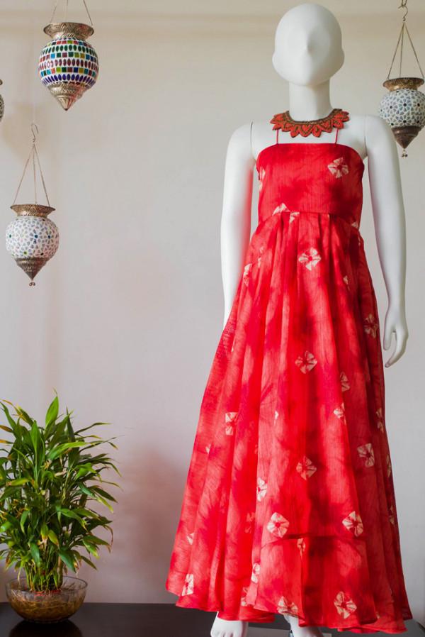 Red Rawsilk Floor Length Dress