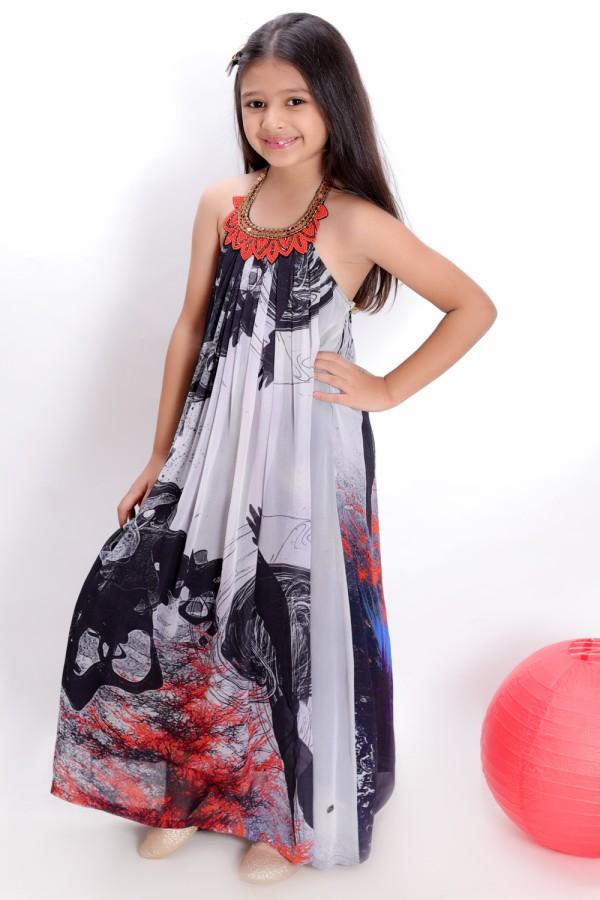 Grey Embroidered Floor Length Dress