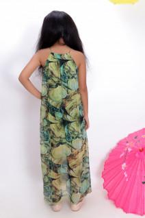 Green Sheer Layered Floor Length Dress