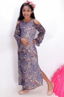 Blue Cold-shoulder Floor Length Dress