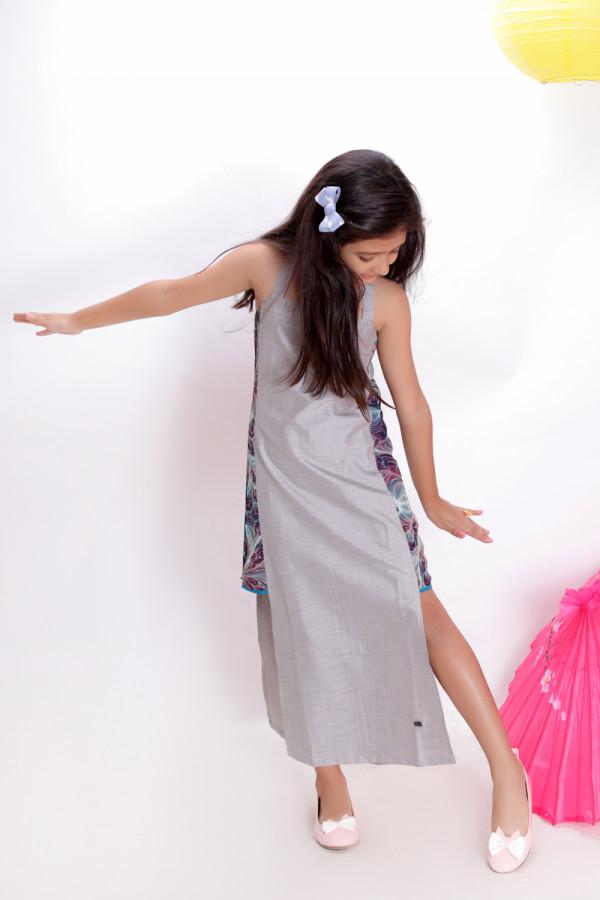 Side Block Floor Length Dress