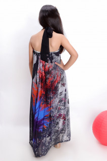 Grey Embroidered Floor Length Dress