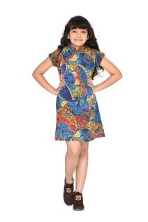 Blue printed crepe short sleeve kids girls modern chinese mandarin collar fashion clothing for children