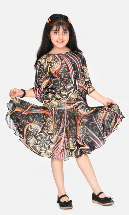 Black Red printed crepe drop waist round neck 3/4 sleeve knee length party midi dress for kids girls