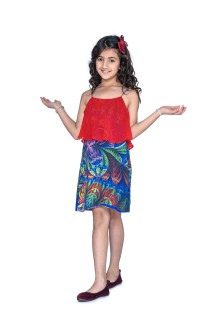 Red Blue printed crepe front back short Layer noodle strap knee length summer beach vacation travel fashion dress for kids girls
