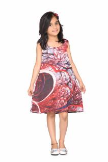 Maroon printed soft satin round neck sleeveless knee length regular fit casual shift dress for kids girls