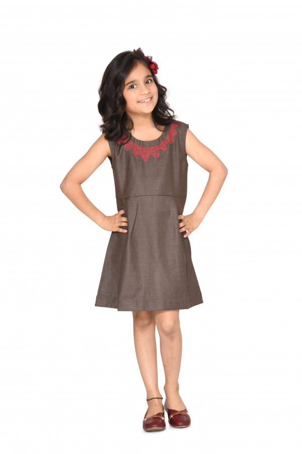 Brown Sleeveless Embroidered Dress