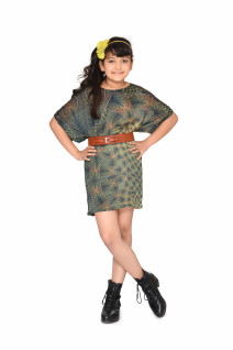 Kids girls green printed crepe dolman sleeve boat neck loosely fit smart knee length western fashion dress for children with brown leather waist belt