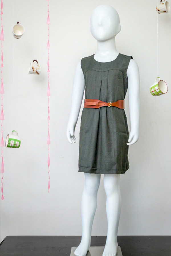 Sap Green Box Pleated Dress
