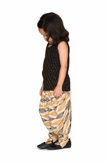 Black Ikat Cotton Top & Beige Dhoti Set