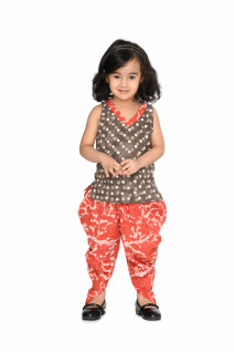 Coral - Brown Cotton Dhoti Set