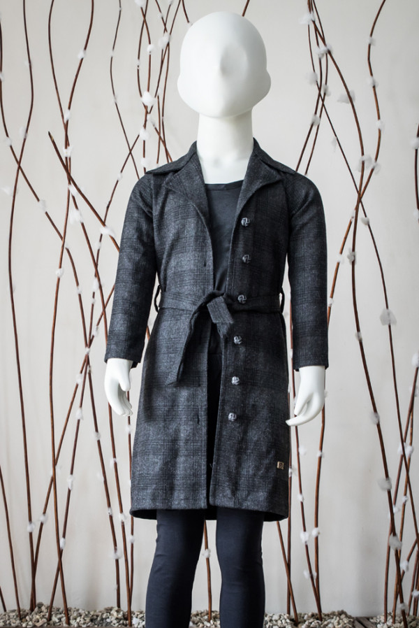 Checkered Overcoat with Sash