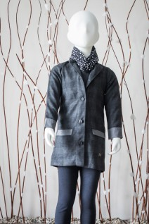 Grey-Black Checkered Overcoat